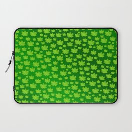 green metal shiny maple leaf on shimmering texture Laptop Sleeve