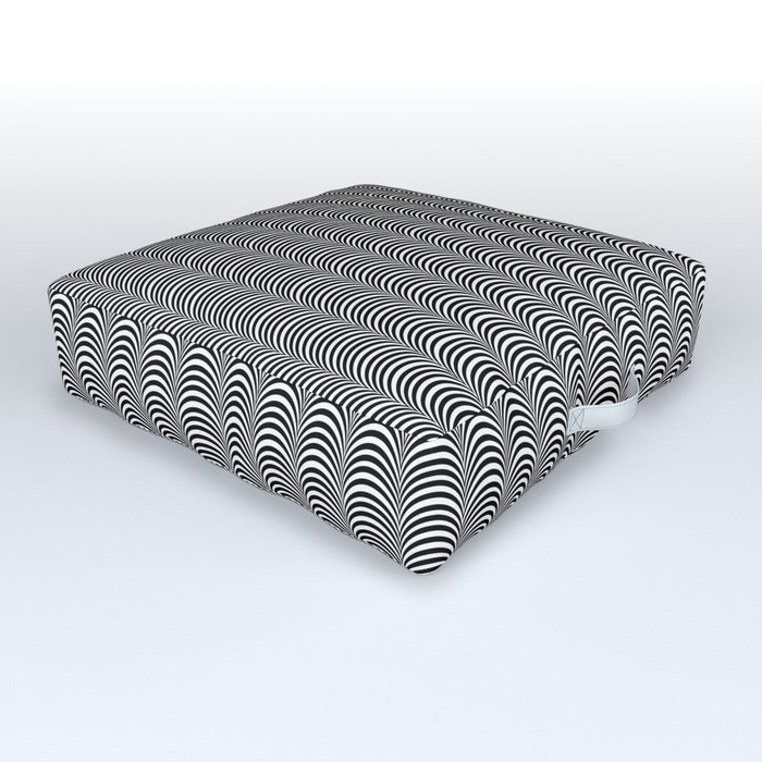 Black and White Scallop Line Pattern Digital Graphic Design Outdoor Floor Cushion
