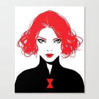 black widow Canvas Prints featuring Black Widow by Irene Flores