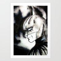 bat man Art Prints featuring bat man by Tufty Cookie