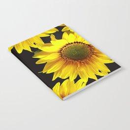 Large Sunflowers on a black background - #Society6 #buyart Notebook