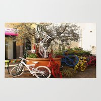 bicycles Area & Throw Rugs featuring Colorful Bicycles by Art-Motiva