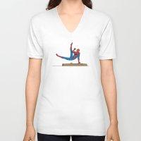 superhero V-neck T-shirts featuring Acrobatic Superhero by Fadhil Zubir