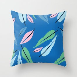 feather on blue Throw Pillow