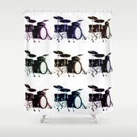 rock n roll Shower Curtains featuring Rock N Roll by Samantha Wright