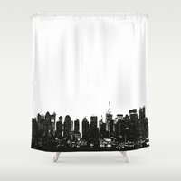 wwe Shower Curtains featuring New York black and white high quality art print by eARTh