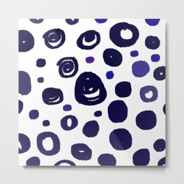 Wint. dots blue on white Metal Print