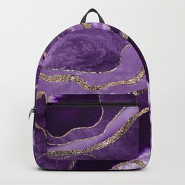 Purple Marble Agate Gold Glitter Glam #1 (Faux Glitter) #decor #art #society6 Backpack