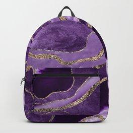 Purple Marble Agate Gold Glitter Glam #1 (Faux Glitter) #decor #art #society6 Backpack