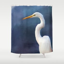 Painted Egret Shower Curtain
