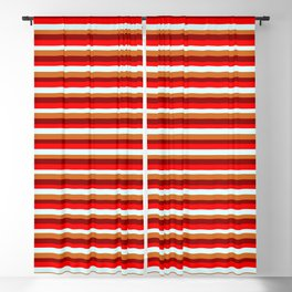 Dark Red, Red, Light Cyan & Chocolate Colored Lined Pattern Blackout Curtain