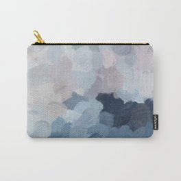 Navy Indigo Gray Blue Blush Pink Lavender Abstract Floral Spring Wall Art Carry-All Pouch