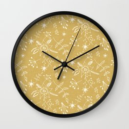 Winter Floral Beige Wall Clock