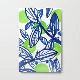 Blue and lime green abstract apple tree Metal Print