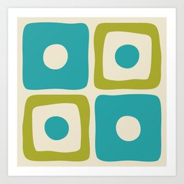 Mid Century Modern Square Dot Pattern 592 Turquoise and Chartreuse Art Print