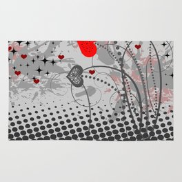 Abstract background with red hearts Rug