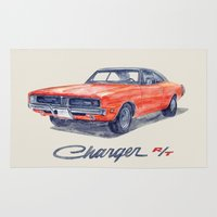 muscle Area & Throw Rugs featuring Muscle car -Dodge Charger by dareba
