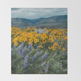 Oregon Spring Wildflower Hillside Throw Blanket