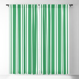Kelly Green and White Wide Small Wide Stripes Blackout Curtain
