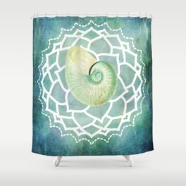 Shell Chakra Blue Shower Curtain