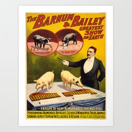 Vintage poster - Trained pigs Art Print