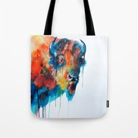 bison Tote Bags featuring Bison by Slaveika Aladjova