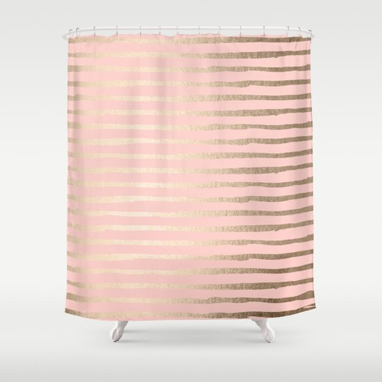 Abstract stripes gold coral light pink shower curtain by for Light pink shower curtain