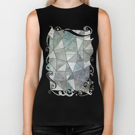 Teal And Grey Triangles Stained Glass Style Biker Tank