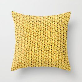 Seed Stitch Yellow Throw Pillow