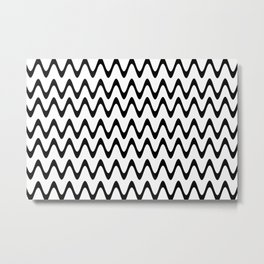 ZigZag Horizontal Black and White Stripes Metal Print