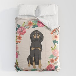 coonhound dog floral wreath dog gifts pet portraits Comforters