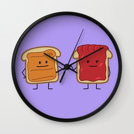 Peanut Butter and Jelly Fist Bump Wall Clock