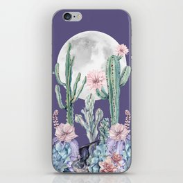 Desert Cactus Full Moon Succulent Garden on Purple iPhone Skin