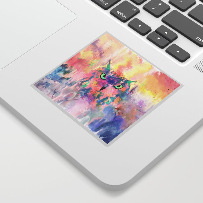 Watercolor eagle owl abstract paint Sticker