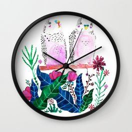 Watercolor cute little birds budgies with folk flowers and colorful leaves Wall Clock