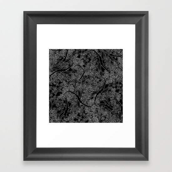 Tree Repeat Black Framed Art Print
