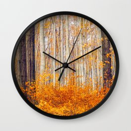 Golden Autumn Forest (Color) Wall Clock