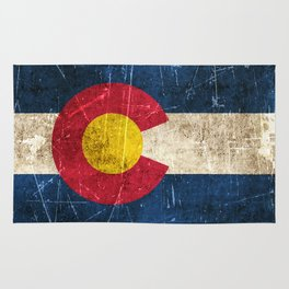 Vintage Aged and Scratched Colorado Flag Rug