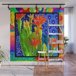 Orange Cactus Rainbow Wall Mural