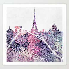 Paris Skyline + Map #1 Art Print