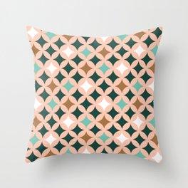 Retro mid-century circles check pastel colors Throw Pillow