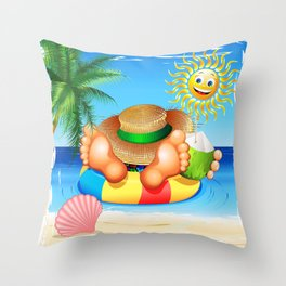 Summer Relax on the Sea Throw Pillow