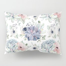 Succulents Blue + Rose Pink on White Pillow Sham