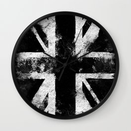 Black Grunge England flag Wall Clock