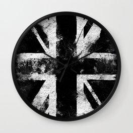 Black Grunge England flag Wall Clock