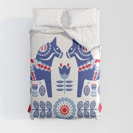 Blue Swedish Dalahäst Comforters