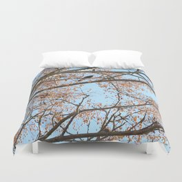 Rowan tree branches with berries and bird Duvet Cover