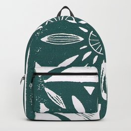 Linocut Flower Dark Green Backpack