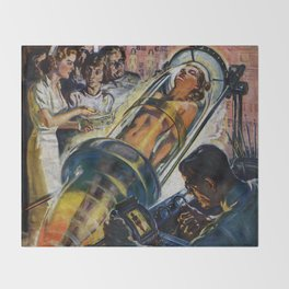 Vintage Sci-Fi (Science Fiction) Illustration Throw Blanket