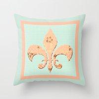 fleur de lis Throw Pillows featuring Fleur de Lis by Artistic Home Decor